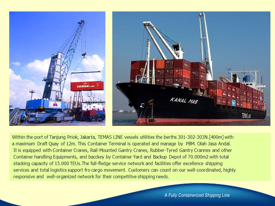 Within the port of Tanjung Priok, Jakarta, TEMAS LINE vessels utilities the berths 301-302-303N.[400m] with